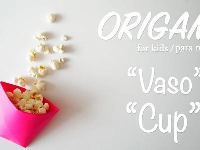 Como hacer un VASITO DE PALOMITAS DE ORIGAMI ????   Origami facil para niños y niñas - Origami for Kids