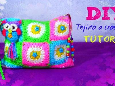 Cosmetiquera de 15 cuadros Granny Margarita !!! A Crochet!!!