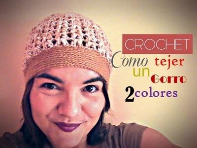 CROCHET: como tejer paso a paso un GORRO con dos colores (diestro)