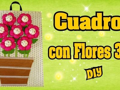 Cuadro en 3D con Flores de Tela rellenas y un individual DIY