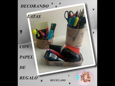 DECORANDO LATAS CON PAPEL DE REGALO : Decoupage