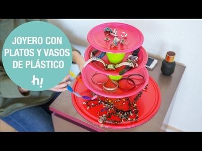 Joyero con platos y vasos de plástico · Handfie DIY