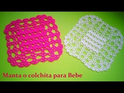 Manta  o colchita para bebe a crochet ( muestra a escala)
