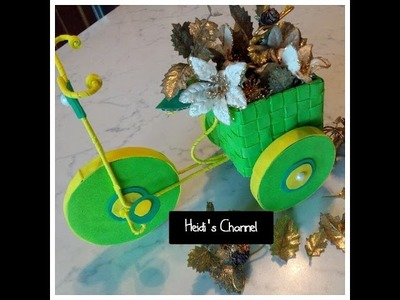 Manualidades: Triciclo.Bicicleta florero.floritere con goma eva.DIY.Tutorial.Reciclaje creativo