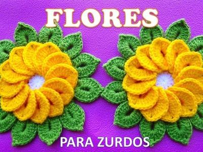 PARA ZURDOS Flores tejidas a crochet de 12 pétalos para tapetes y centros de mesa paso a paso