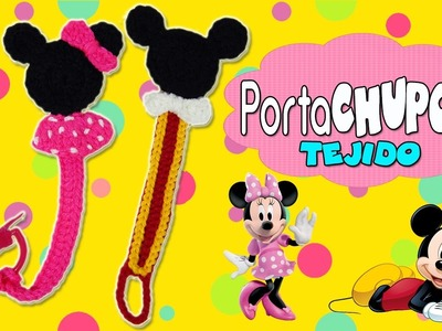 Porta chupón Tejido a crochet Mickey mouse y Minnie mouse