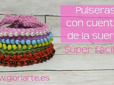 Pulsera de ganchillo con abalorios. Crochet bracelet with beads.