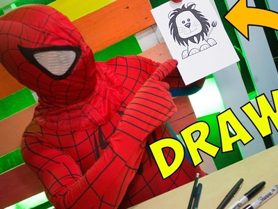 Superheroes Spiderman Drawing - Como Dibujar un Leon - How to draw Lion