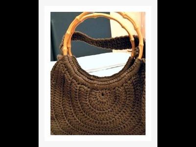 152-How to crochet bamboo handle bags-Como tejer asas de bamboo a crochet