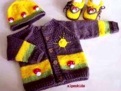 Abrigo de niño tejido en crochet ganchillo