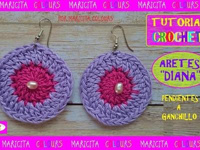 """Aretes ó Pendientes a Crochet Ganchillo """"Diana"""" por Maricita colours"""
