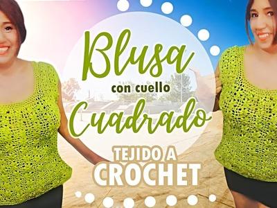 BLUSA VERANIEGA #4 CON FLORES TEJIDA A CROCHET | Canela♥