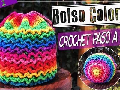 Bolso o Morral Tejido En Crochet - Punto SQUIGGLE Paso a Paso - Parte 2