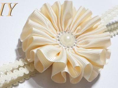 Como Hacer Lazos ???? DIY #87 Flor en Cinta Gros Tutorial