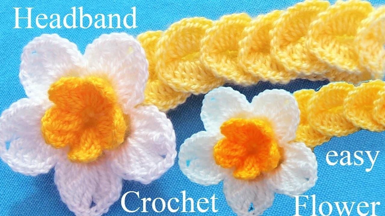 Como tejer a crochet diadema con flor en punto de medallones - Diademas de ganchillo ...