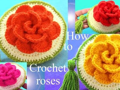 Como tejer a Crochet monederos de rosas flores 3D regalos para Mamá - How to Crochet