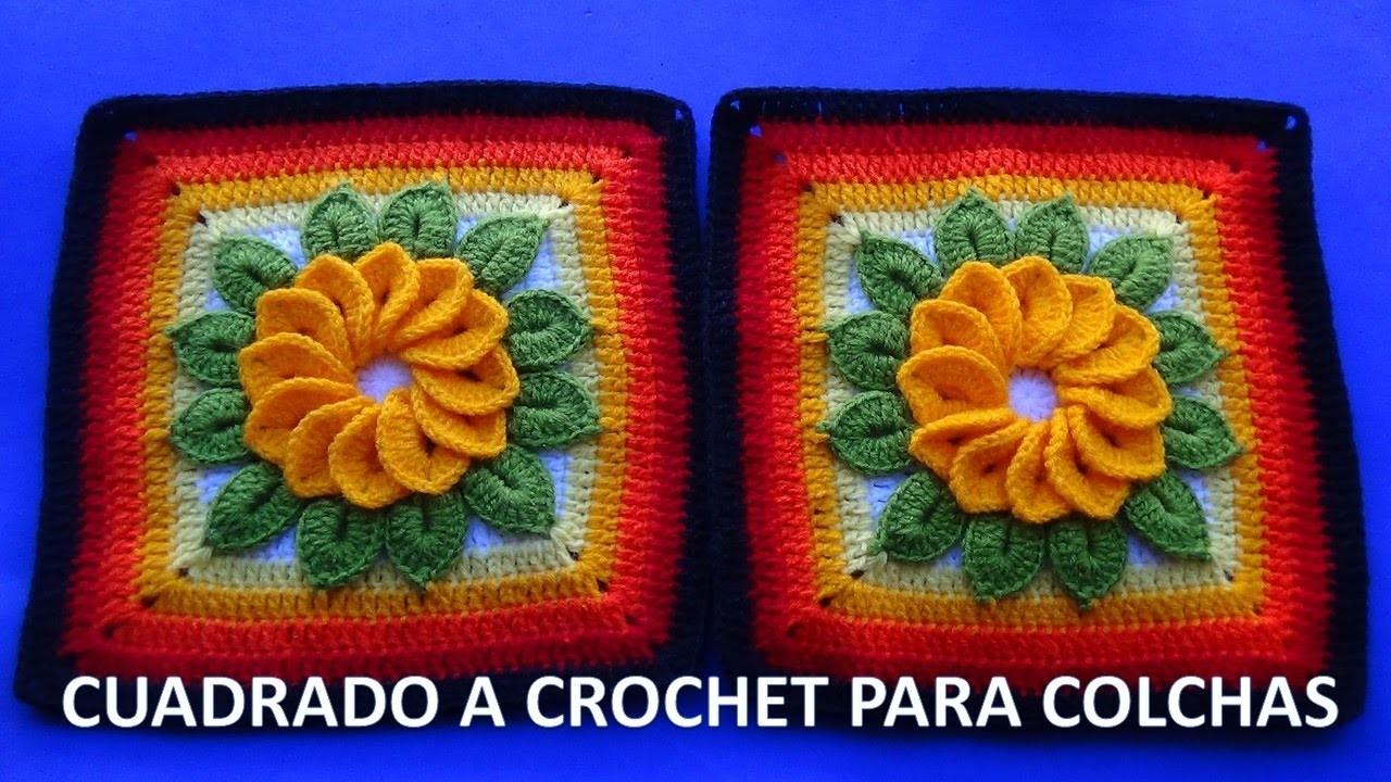 Cuadrado o muestra a crochet con flor de 12 p talos y - Colchas de crochet paso a paso ...