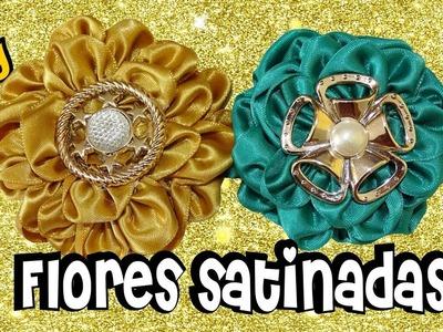 D.I.Y. Flor de cinta de satén con semicirculos - Tutorial | Mis Flores de Tela