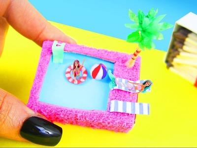 DIY Casitas de Muñecas en Miniatura Video Tutorial- Piscina. Pileta en una cajita de cerillas