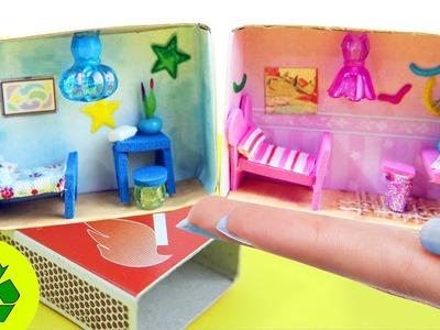 DIY Casitas de Muñecas en Miniatura Video Tutorial- Cuartos en una cajita de cerillas