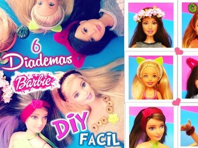 DIY| Como hacer 6 DIADEMAS para TODAS tus muñecas BARBIE| Manualidades para MUÑECAS