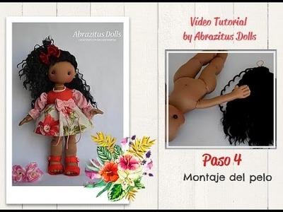 Diy - Como hacer muñeca soft: Paso 04 - Montaje del pelo