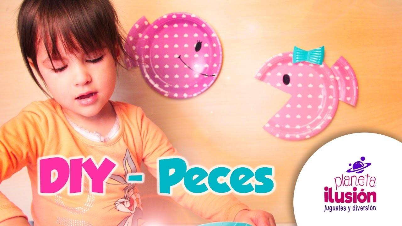 DIY - PECES con PLATOS de colores. Manualidades fáciles para niños.