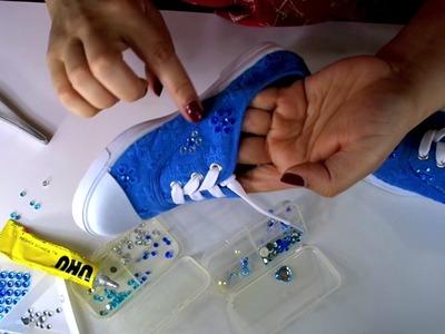 DIY Zapatos de niña decorados** Colab Dia del niño
