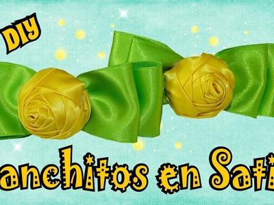 Ganchitos para Niñas con Cintas - rosa amarilla D.I.Y. Tutorial | Mis Flores de Tela