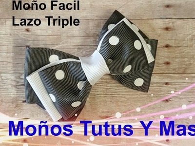 LAZO TRIPLE ELEGANTE Paso a Paso TRIPLE LAYER HAIR BOW Tutorial DIY How To PAP Video 161