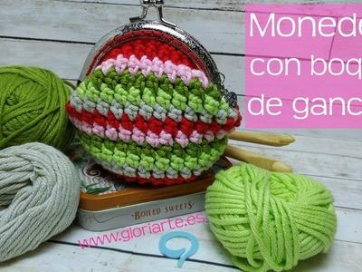 Monedero de ganchillo con boquilla | Punto bajo extendido crochet. Crochet purse.