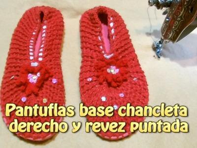 Pantuflas base chancletas derecho y revez puntada |Creaciones y manualidades angeles