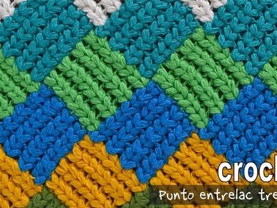 Punto entrelac trenzado (¡con trenzas gorditas!) a crochet. Tejiendo Perú