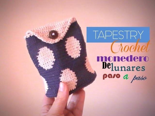 TAPESTRY crochet: Monedero con lunares paso a paso (zurdo)
