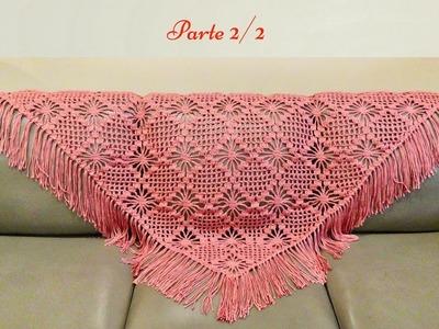 Chal a crochet, paso a paso  Parte 2 de 2