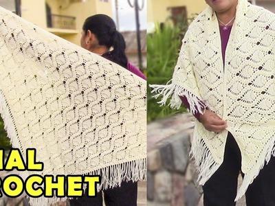 Chal para Damas tejido a crochet o ganchillo paso a paso, fácil de hacer