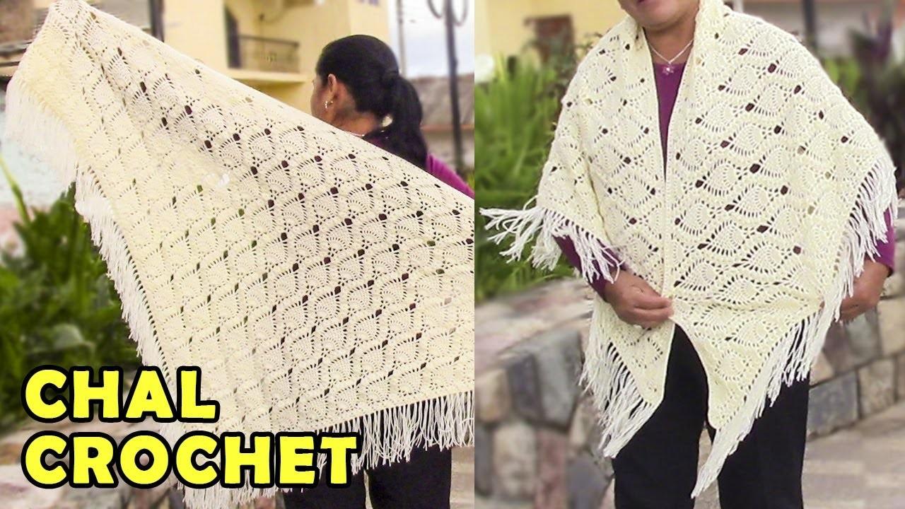 Chal para damas tejido a crochet o ganchillo paso a paso for Como hacer un sobre rectangular
