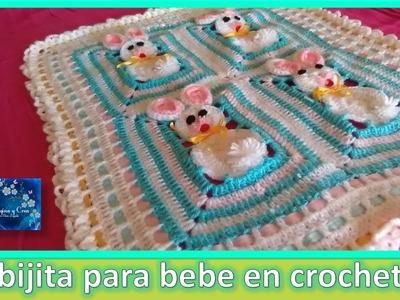 """COBIJA PARA BEBE en crochet  """"CONEJITOS""""  3 de 3  CROCHET BABY BLANKET"""