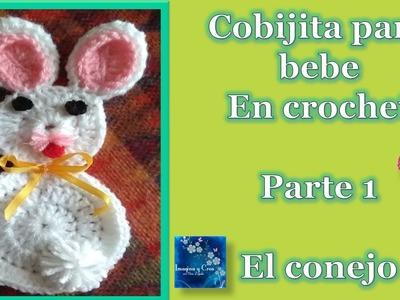 """COBIJA PARA BEBE en crochet  """"CONEJITOS""""  1 de 3  CROCHET BABY BLANKET"""