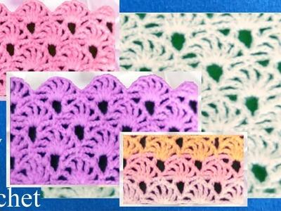Como tejer a Crochet punto de abanicos calados  How to Crochet Learn
