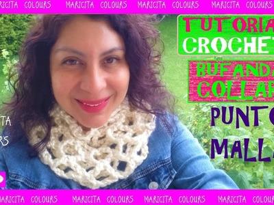 Cómo Tejer Bufanda cuello a crochet Punto Red. Malla  por Maricita Colours