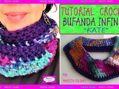 """Cómo Tejer Bufanda infinita a Crochet """"Kate""""  básica por Maricita Colours"""