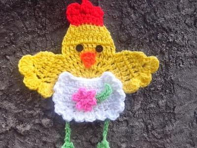 Crochet Agarradera gallina para Cocina - Paso a paso