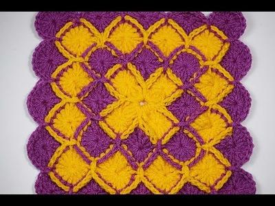 Cuadro a crochet para mantas y cobijas muy fácil y rápido