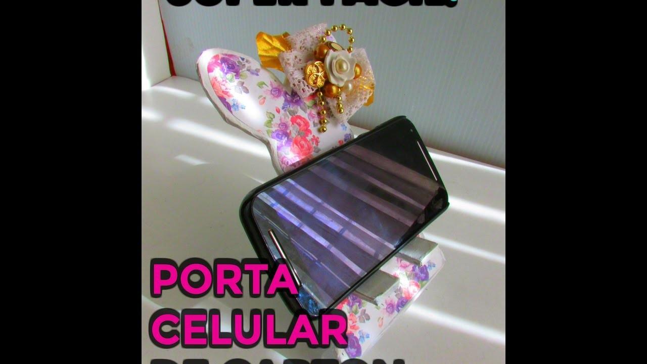 Diy porta celular de carton reciclando super facil - Decorar reciclando facil ...
