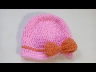 Elaboracion de un Gorrito Para Bebe de 0  2 Meses en Crochet ♥ Damary♥