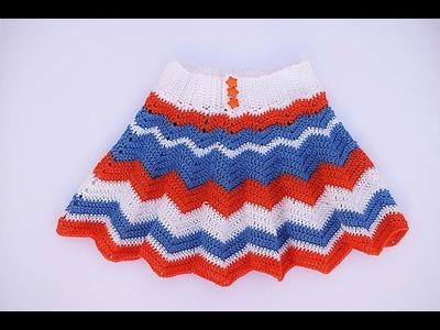 Falda a crochet para niña paso a paso en español