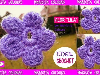"""Flor Fácil a Crochet. Ganchillo """"Lila"""" Tutorial por Maricita Colours"""