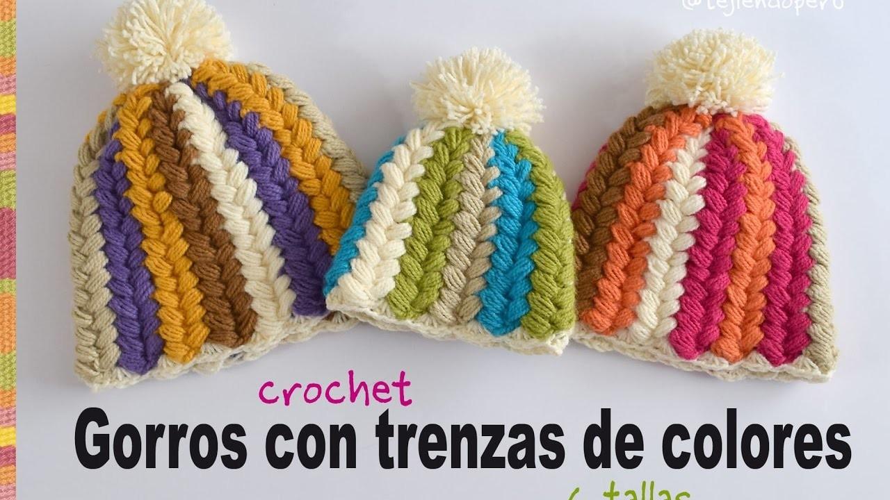 crochet gorro con trenzas de colores a crochet en todas. Black Bedroom Furniture Sets. Home Design Ideas