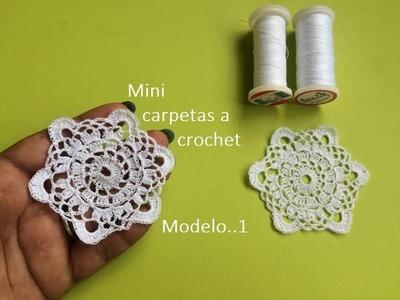 Mini carpetas a crochet ( modelo 1)